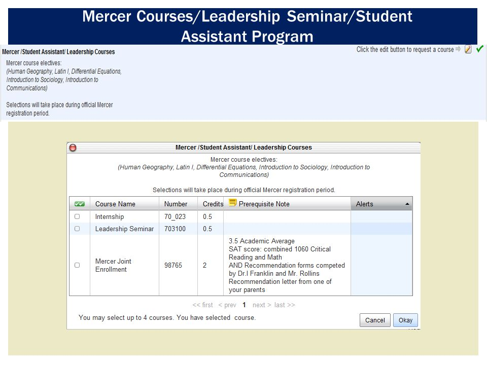 Mercer Courses/Leadership Seminar/Student Assistant Program