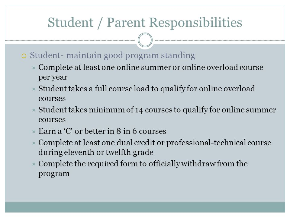 District Role / Responsibilities Inform interested parties about the 8 in 6 program Make reasonable efforts to ensure interested students understand program requirements Successful participants are independent learners, will follow through, have successfully completed online courses, have a mentor for support through the process Identify mechanism to limit to 10% in each grade level if needed Students who have completed at least 1 online course (required criteria) Grade Point Average (optional criteria) State mandated test results (ISAT) (optional criteria) End of Course Assessment results (optional criteria) Other district criteria