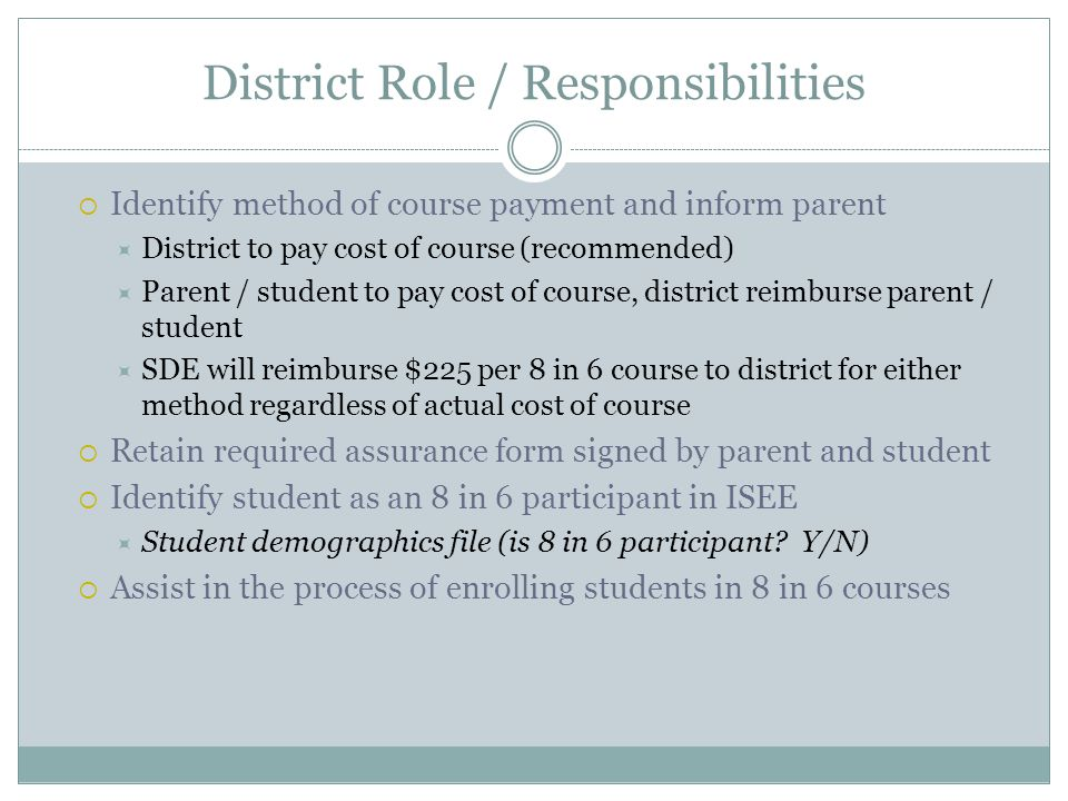 District Role / Responsibilities Identify method of course payment and inform parent District to pay cost of course (recommended) Parent / student to