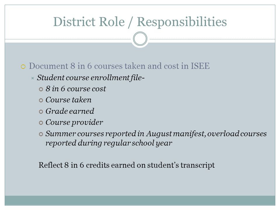District Role / Responsibilities Document 8 in 6 courses taken and cost in ISEE Student course enrollment file- 8 in 6 course cost Course taken Grade