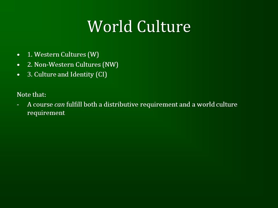 World Culture 1. Western Cultures (W)1. Western Cultures (W) 2. Non-Western Cultures (NW)2. Non-Western Cultures (NW) 3. Culture and Identity (CI)3. C