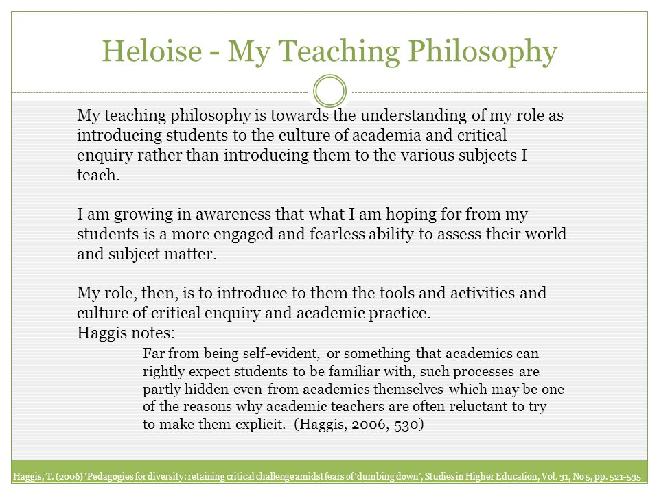 My teaching philosophy is towards the understanding of my role as introducing students to the culture of academia and critical enquiry rather than introducing them to the various subjects I teach.