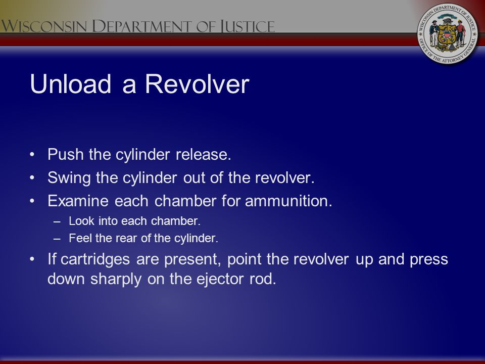 Unload a Revolver Push the cylinder release. Swing the cylinder out of the revolver. Examine each chamber for ammunition. –Look into each chamber. –Fe