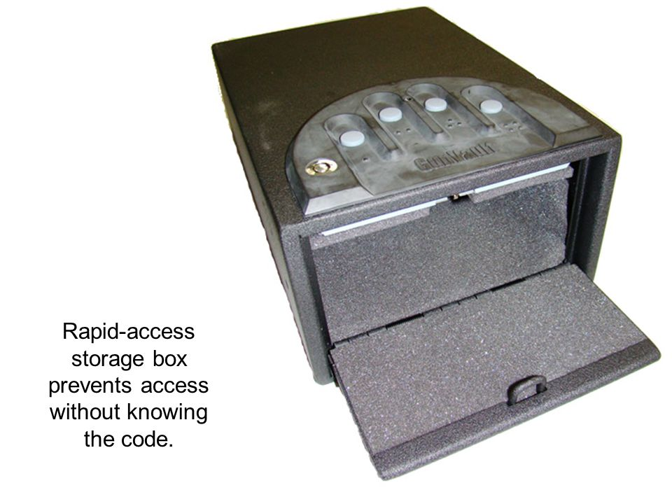 Rapid-access storage box prevents access without knowing the code.