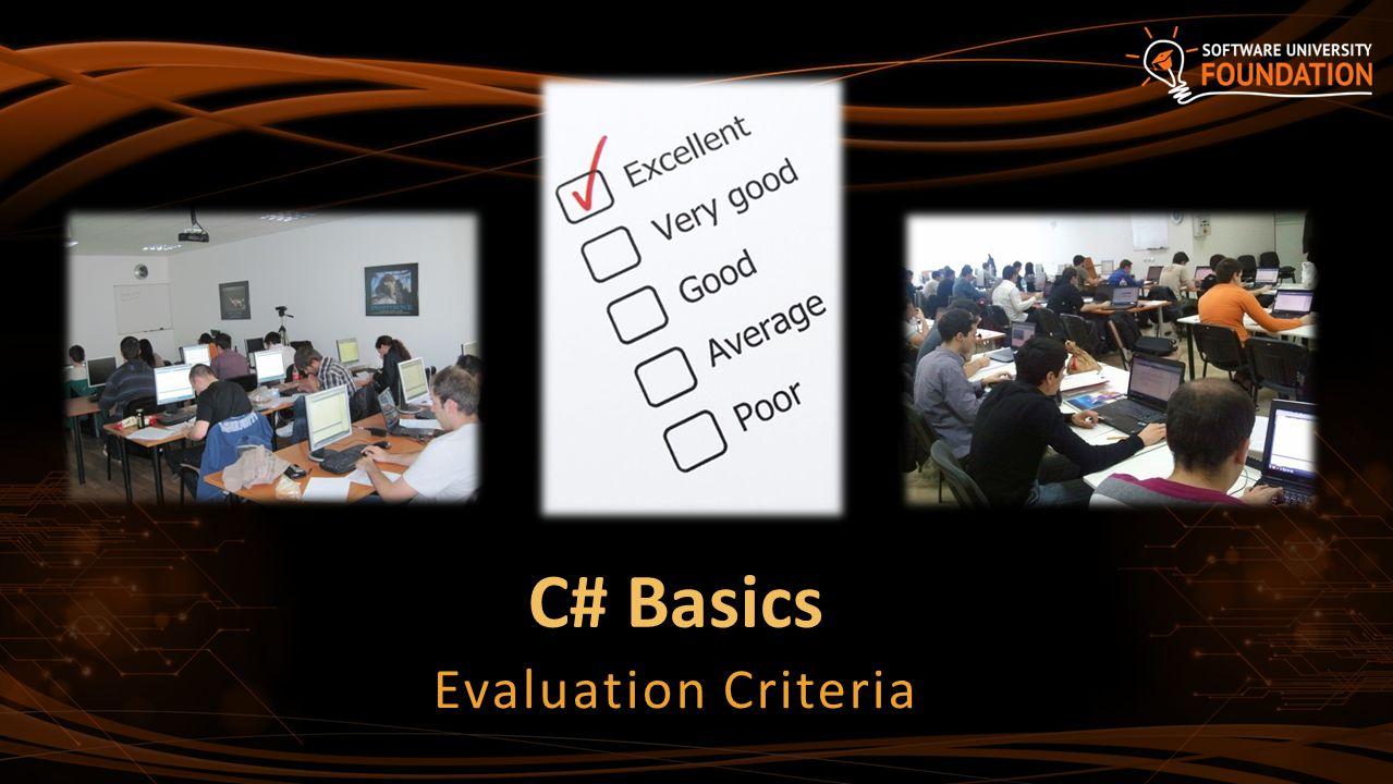 C# Basics Evaluation Criteria