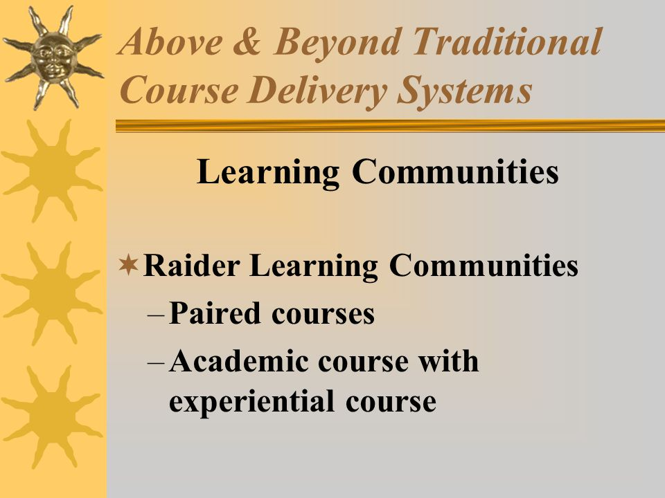 Above & Beyond Traditional Course Delivery Systems Learning Communities Raider Learning Communities –Paired courses –Academic course with experiential course