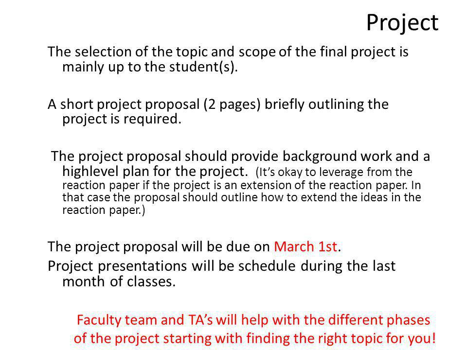 Course Mechanics Lectures Guest Lectures Special Guest Lectures: Occasional CompSust talks at AI seminar and/or ICS Talks Project Meetings Reaction Paper – presentations in class by st Project Presentations Reaction paper write-up due Feb 14 th Project Proposal due Mar 1st