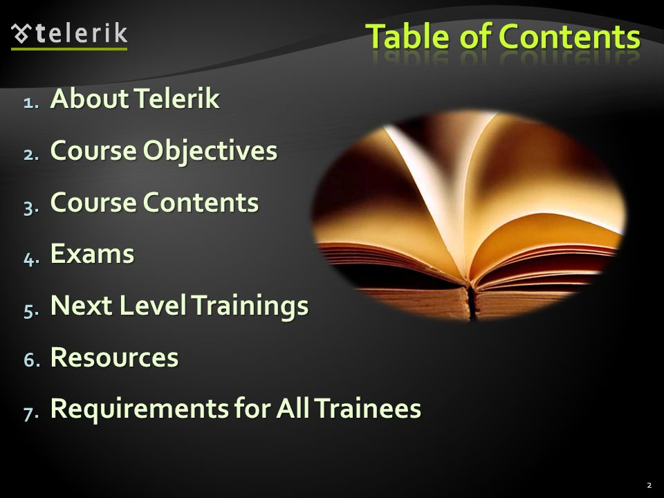 1. About Telerik 2. Course Objectives 3. Course Contents 4.