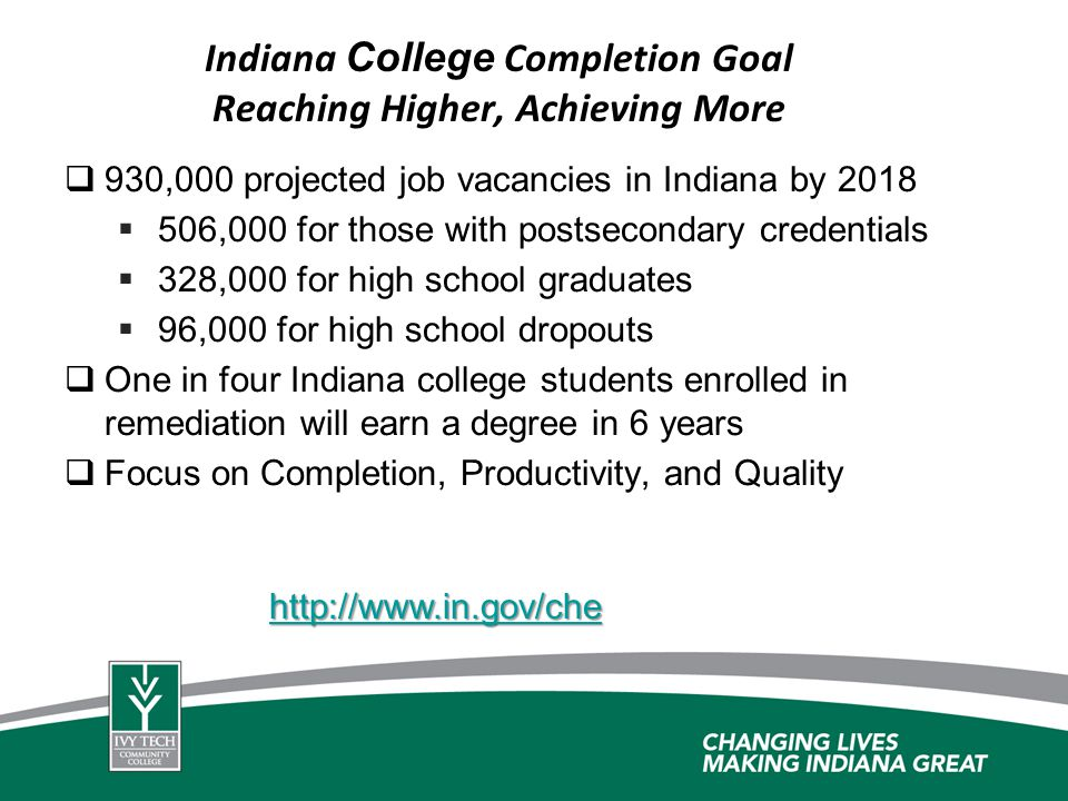 Indiana College Completion Goal Reaching Higher, Achieving More 930,000 projected job vacancies in Indiana by 2018 506,000 for those with postsecondar