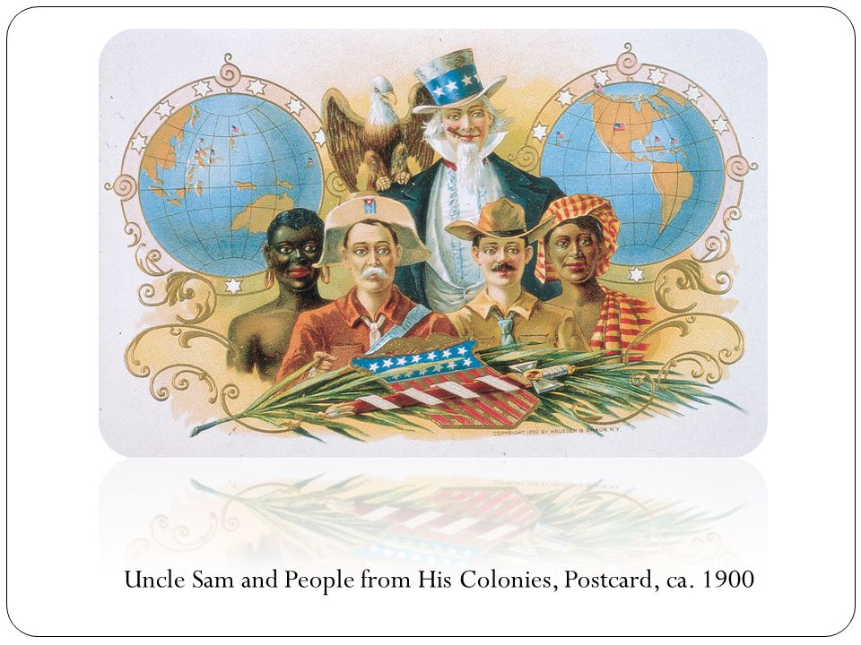 Uncle Sam and People from His Colonies, Postcard, ca. 1900