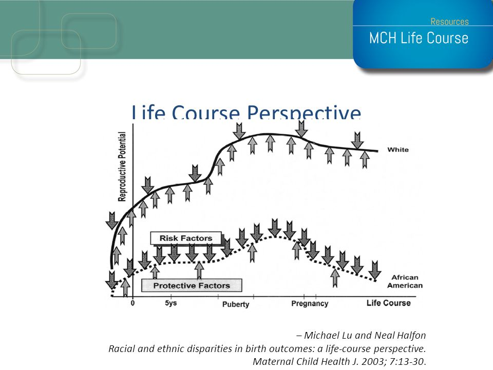 Life Course Perspective – Michael Lu and Neal Halfon Racial and ethnic disparities in birth outcomes: a life-course perspective. Maternal Child Health