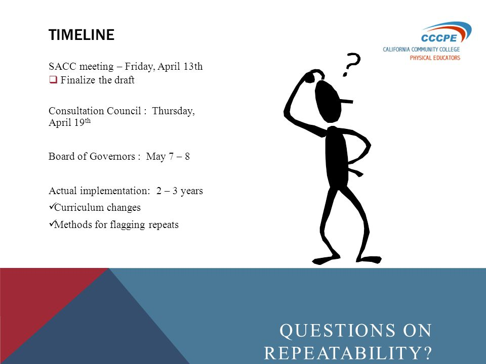 SACC meeting – Friday, April 13th Finalize the draft Consultation Council : Thursday, April 19 th Board of Governors : May 7 – 8 Actual implementation: 2 – 3 years Curriculum changes Methods for flagging repeats TIMELINE QUESTIONS ON REPEATABILITY