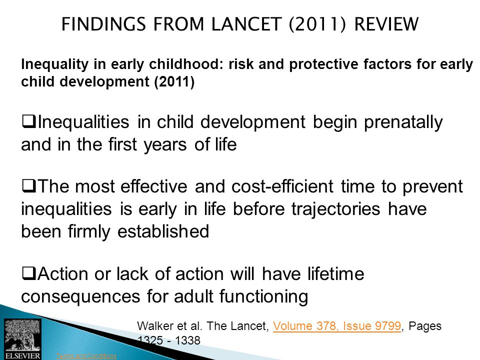 Figure 3 Terms and Conditions FINDINGS FROM LANCET (2011) REVIEW Inequality in early childhood: risk and protective factors for early child developmen