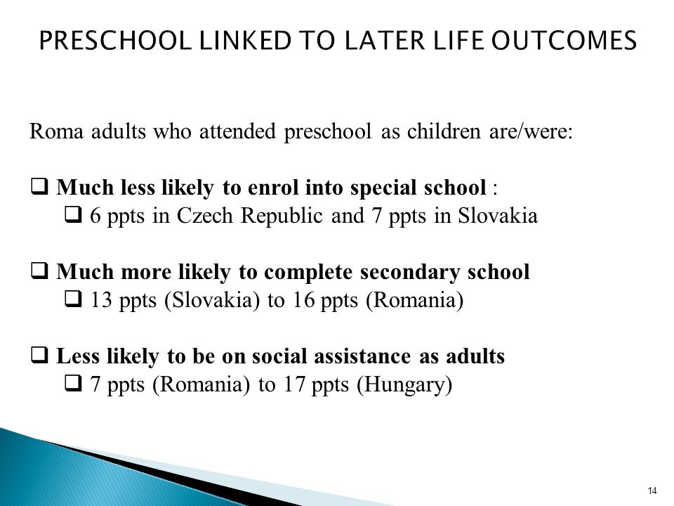 14 Roma adults who attended preschool as children are/were: Much less likely to enrol into special school : 6 ppts in Czech Republic and 7 ppts in Slo