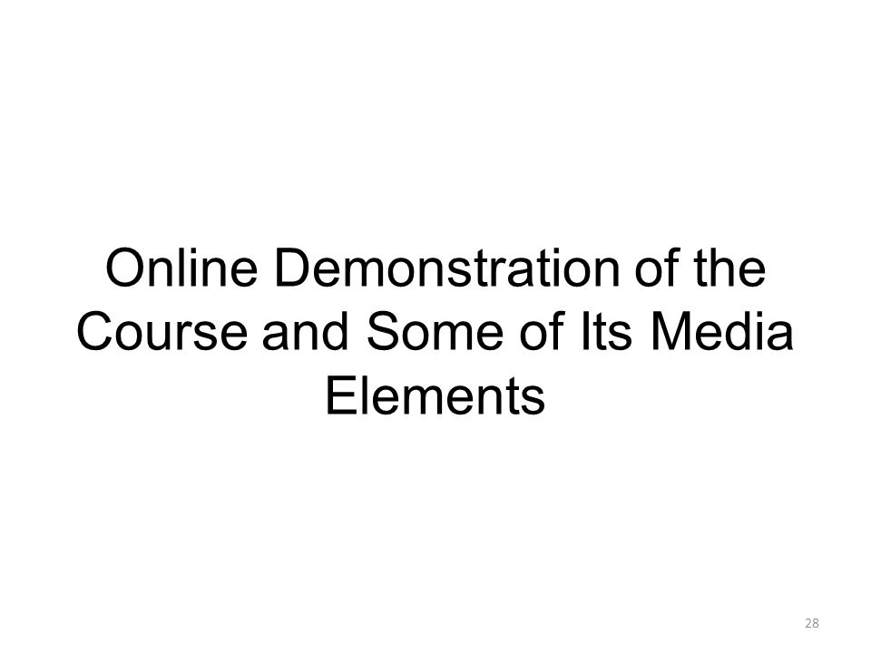 28 Online Demonstration of the Course and Some of Its Media Elements