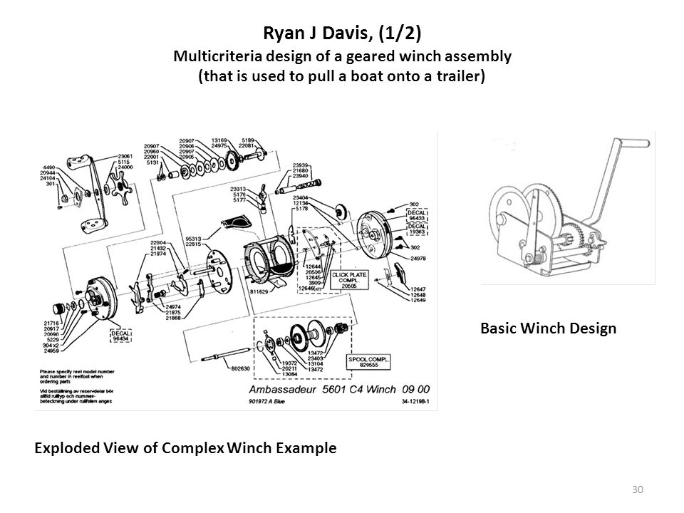 30 Ryan J Davis, (1/2) Multicriteria design of a geared winch assembly (that is used to pull a boat onto a trailer) Exploded View of Complex Winch Exa