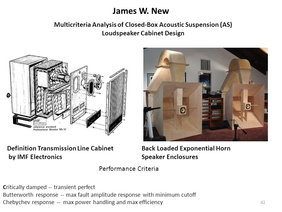 42 James W. New Definition Transmission Line Cabinet by IMF Electronics Back Loaded Exponential Horn Speaker Enclosures Multicriteria Analysis of Clos
