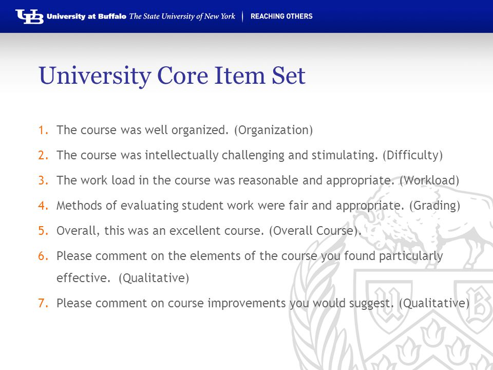 University Core Item Set 1.The course was well organized.