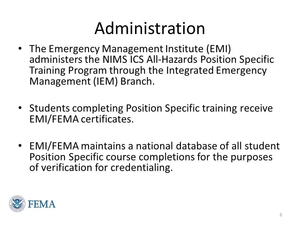 Position Specific Courses Command & General Staff Incident Commander (E/L951) Public Information Officer (E/L953) Safety Officer (E/L955) Liaison Officer (E/L957) Operations Section Chief (E/L 959) Planning Section Chief (E/L963) Logistics Section Chief (E/L968) Finance/Admin Section Chief (E/L974) Unit Leader Division/Group Supervisor (E/L960) Situation Unit Leader (E/L964) Resource Unit Leader (E/L965) Communications Unit Leader (E/L969) Supply Unit Leader (E/L970) Facilities Unit Leader (E/L971) Finance/Admin Unit Leader (E/L975) 7