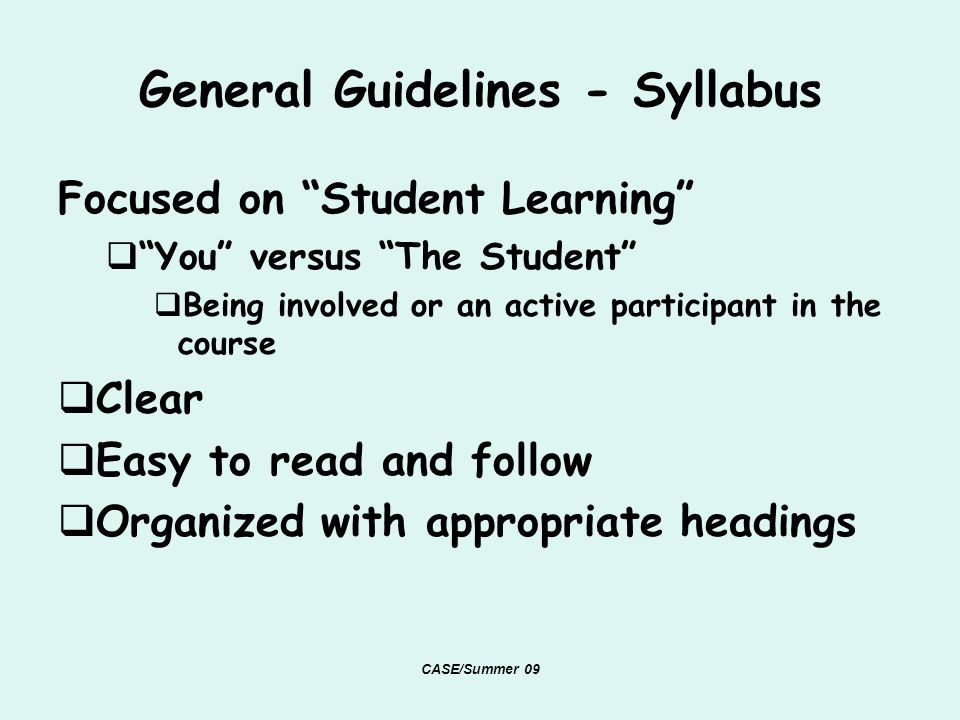 General Guidelines - Syllabus Focused on Student Learning You versus The Student Being involved or an active participant in the course Clear Easy to read and follow Organized with appropriate headings CASE/Summer 09