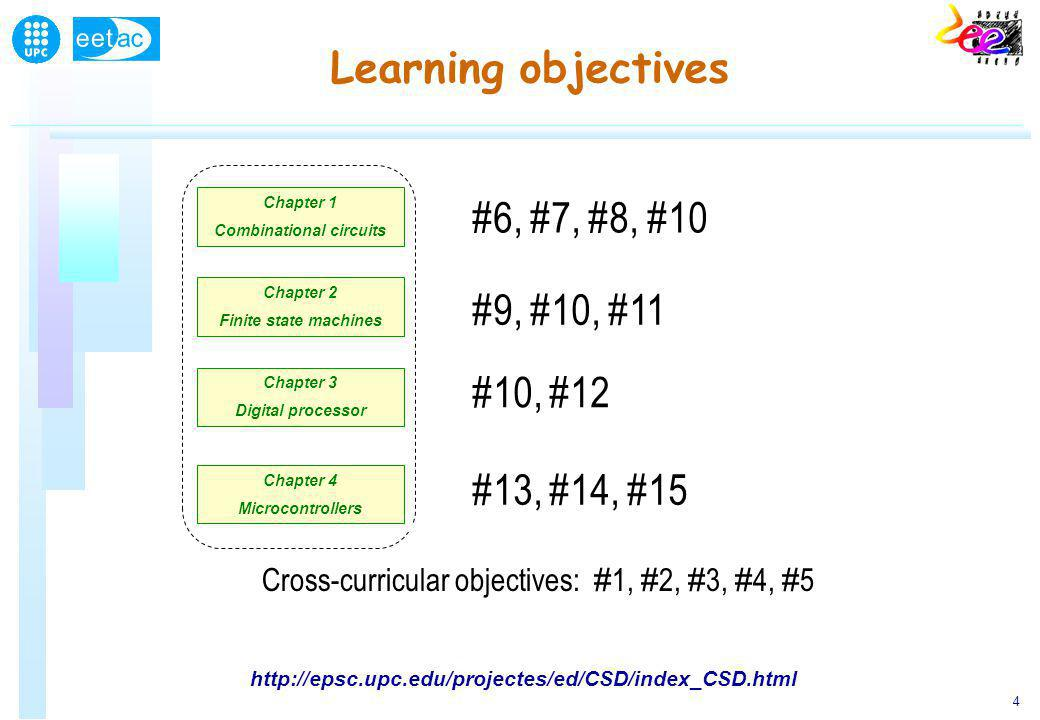 4 Learning objectives Chapter 1 Combinational circuits Chapter 1 Combinational circuits Chapter 2 Finite state machines Chapter 2 Finite state machines Chapter 3 Digital processor Chapter 3 Digital processor Chapter 4 Microcontrollers Chapter 4 Microcontrollers #6, #7, #8, #10 Cross-curricular objectives: # 1, # 2, # 3, # 4, # 5 #9, #10, #11 #10, #12 #13, #14, #15 http://epsc.upc.edu/projectes/ed/CSD/index_CSD.html