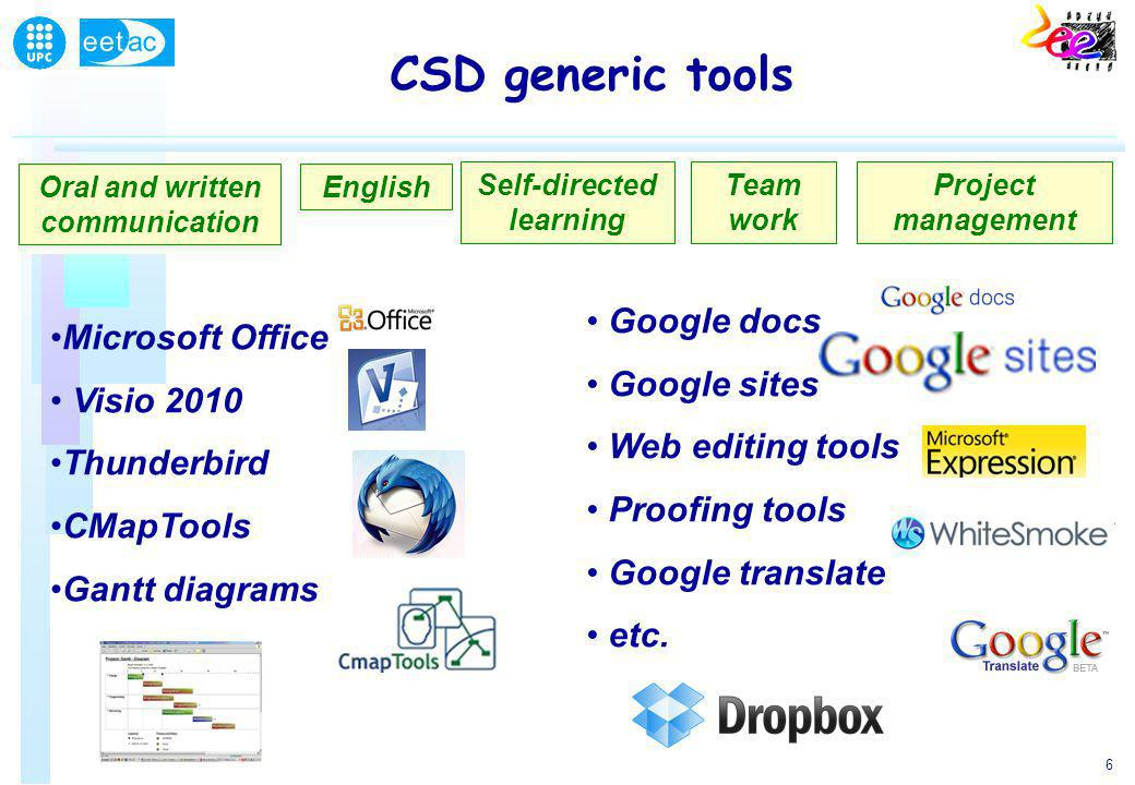 6 Oral and written communication Microsoft Office Visio 2010 Thunderbird CMapTools Gantt diagrams CSD generic tools English Self-directed learning Team work Google docs Google sites Web editing tools Proofing tools Google translate etc.