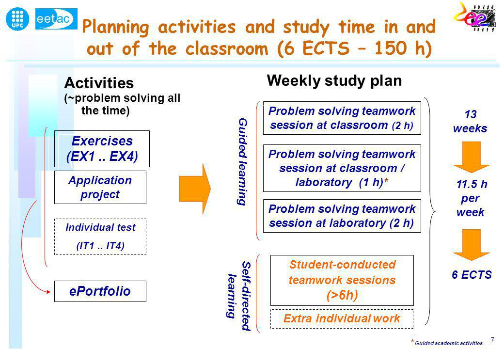 7 Planning activities and study time in and out of the classroom (6 ECTS – 150 h) Activities (~problem solving all the time) Exercises (EX1..
