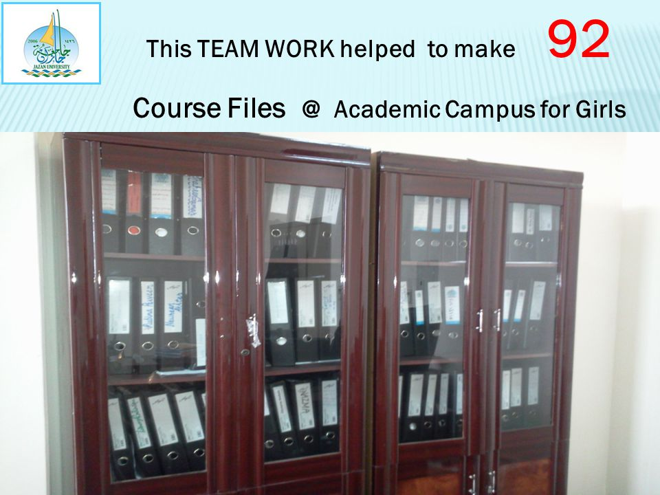 This TEAM WORK helped to make 92 Course Files @ Academic Campus for Girls