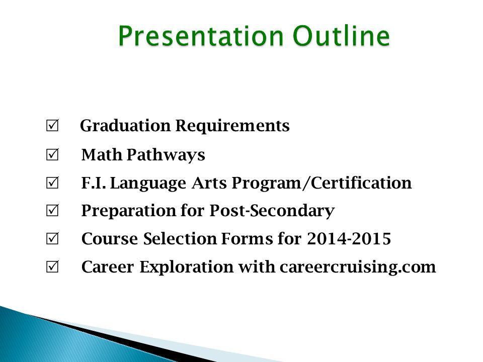 Graduation Requirements Math Pathways F.I.