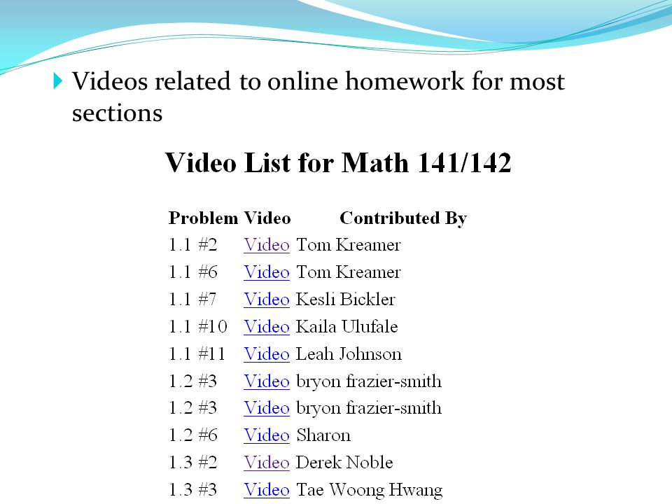 Videos related to online homework for most sections