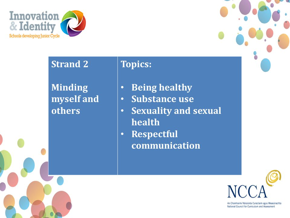 Strand 2 Minding myself and others Topics: Being healthy Substance use Sexuality and sexual health Respectful communication