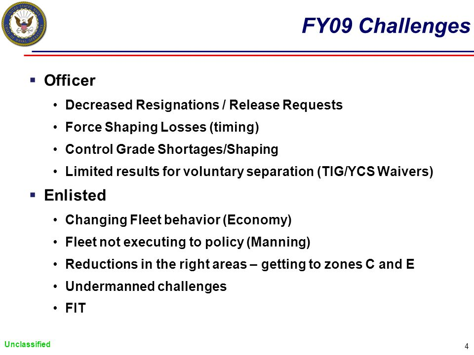 Unclassified 4 FY09 Challenges Officer Decreased Resignations / Release Requests Force Shaping Losses (timing) Control Grade Shortages/Shaping Limited