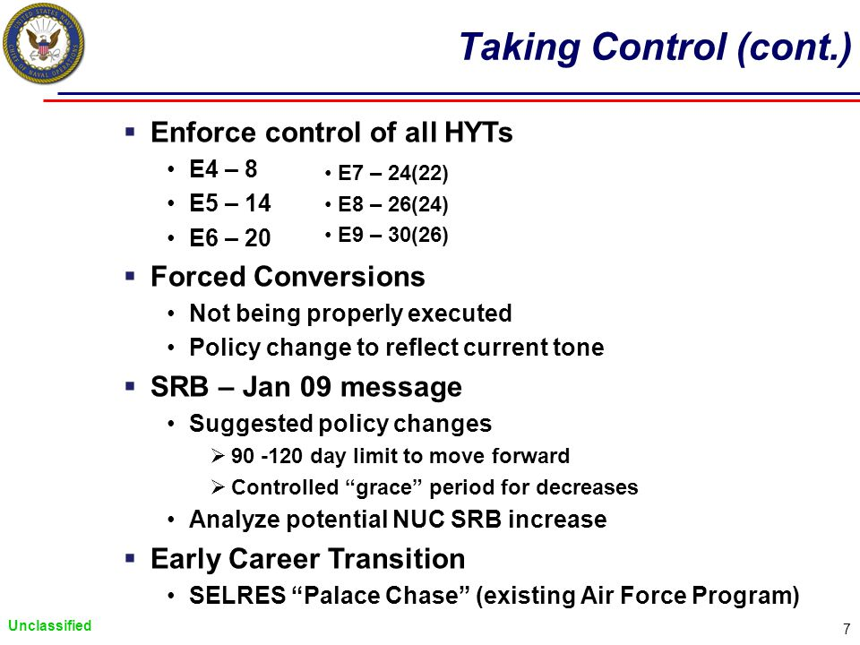 Unclassified 7 Taking Control (cont.) Enforce control of all HYTs E4 – 8 E5 – 14 E6 – 20 Forced Conversions Not being properly executed Policy change