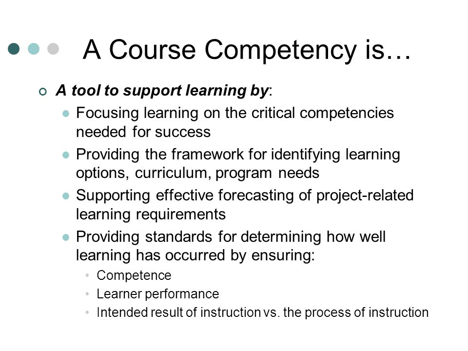 Breakdown of Developing Student Outcomes COURSE COMPETENCY FLDOE Frameworks SCNS SCNS Browse for Course Profile & Example CurricUNET MDC Curriculum Approval Process Course Intent