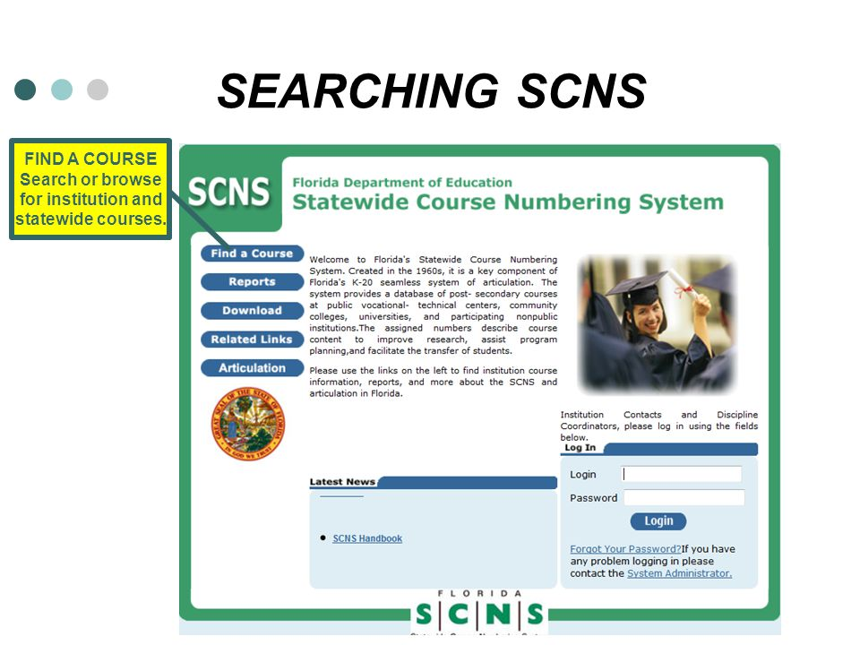 SEARCHING SCNS FIND A COURSE Search or browse for institution and statewide courses.