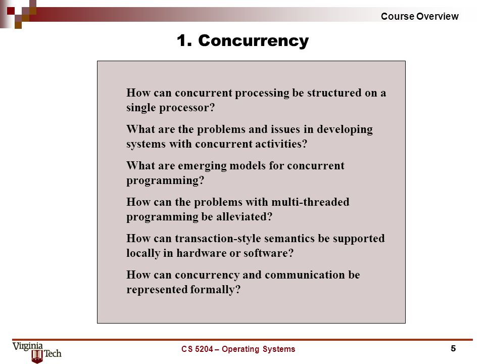 Course Overview CS 5204 – Operating Systems5 1.