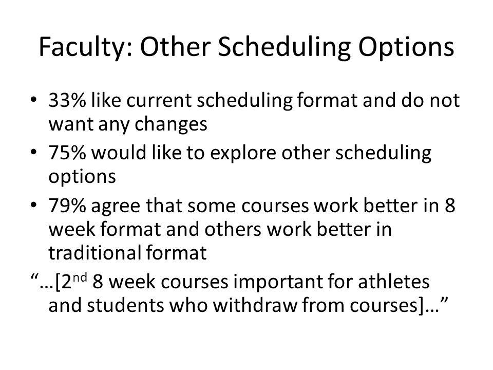 Faculty: Other Scheduling Options 33% like current scheduling format and do not want any changes 75% would like to explore other scheduling options 79