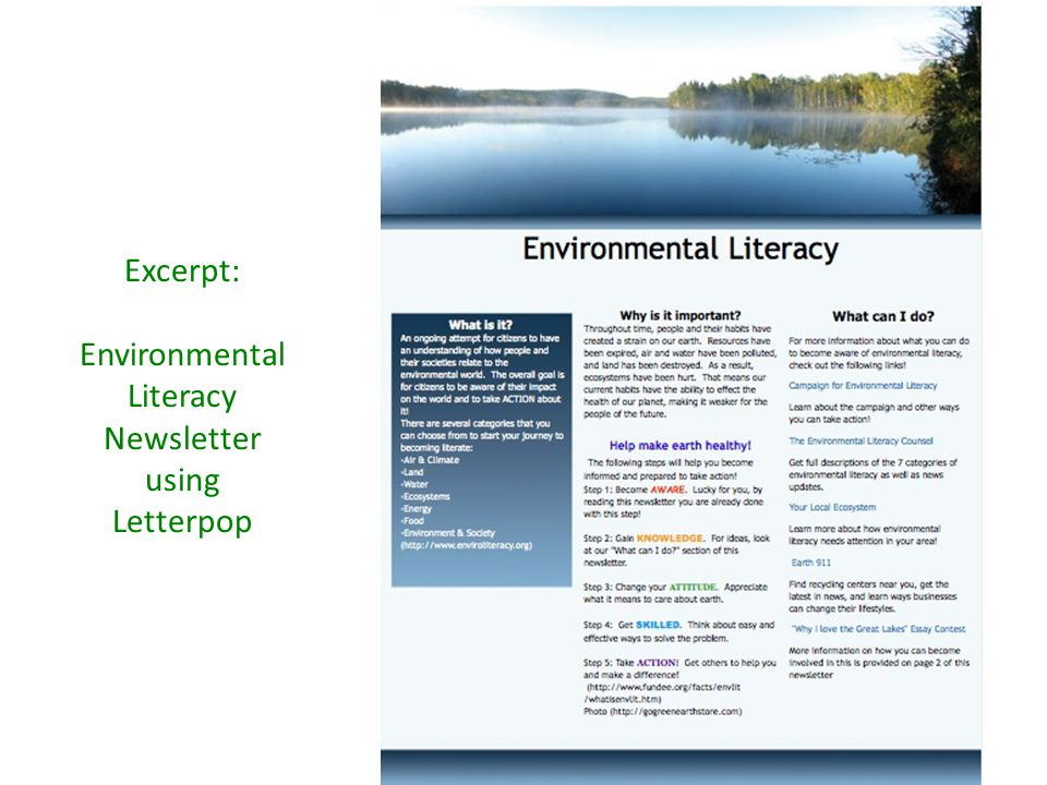 Excerpt: Environmental Literacy Newsletter using Letterpop