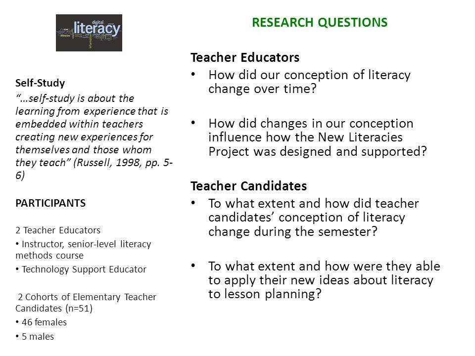 RESEARCH QUESTIONS Teacher Educators How did our conception of literacy change over time? How did changes in our conception influence how the New Lite