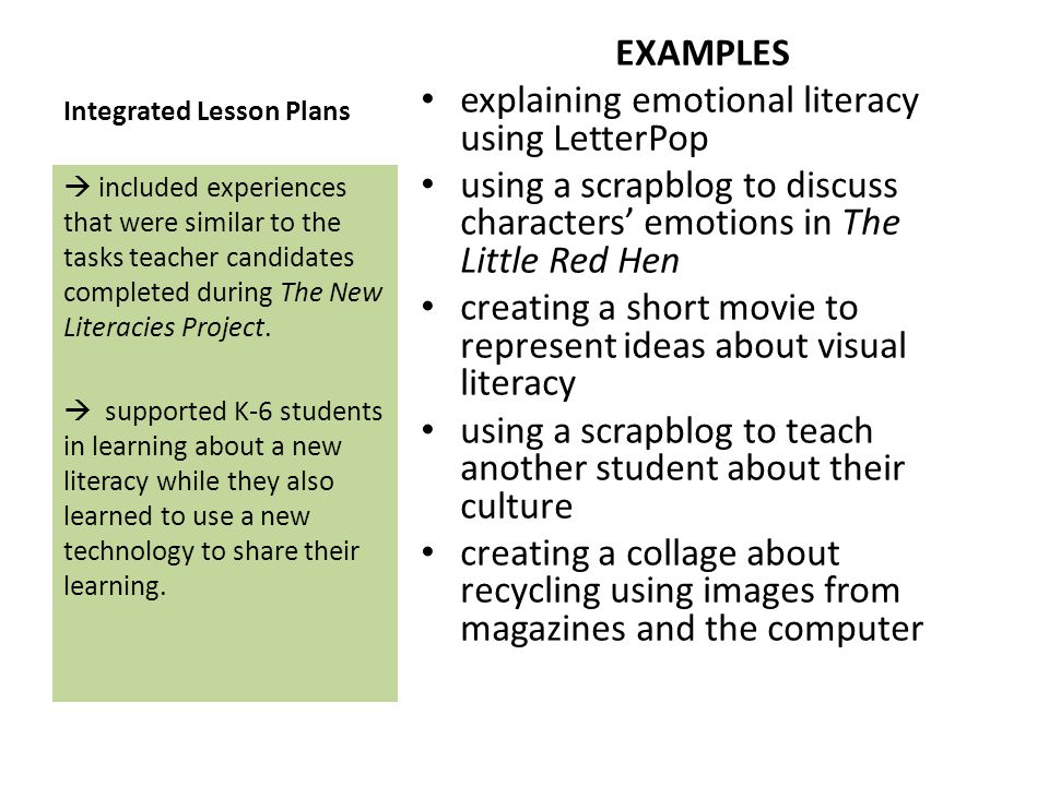 Integrated Lesson Plans EXAMPLES explaining emotional literacy using LetterPop using a scrapblog to discuss characters emotions in The Little Red Hen