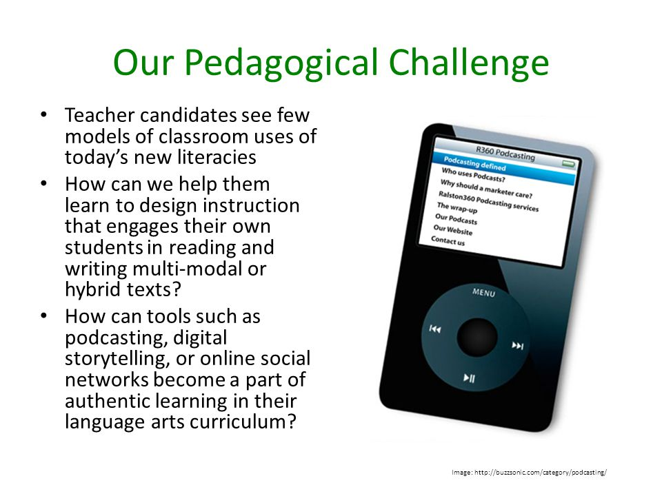 Goal 1: expand teacher candidates conception of literacy and prompt reflection on their learning Goal 2: develop teacher candidates digital literacy and prompt reflection on their learning Goal 3: stimulate teacher candidates thinking about how they might use their insights to teach new literacies (including digital literacy) in their own K-5 classroom The New Literacies Project Image: http://www.networksierra.org/