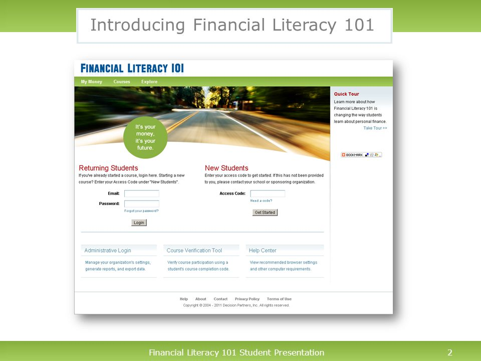Financial Literacy 101 Student Presentation3 What is Financial Literacy 101.