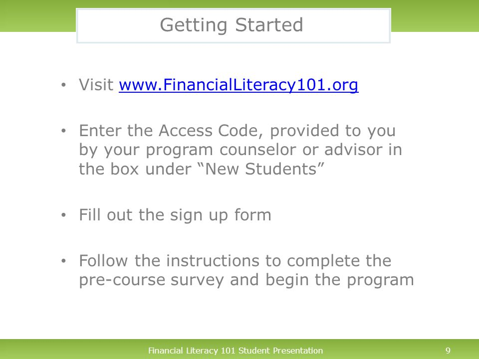 Financial Literacy 101 Student Presentation10 Need Help.