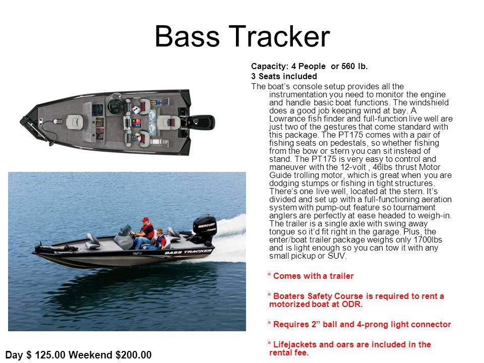 Bass Tracker Capacity: 4 People or 560 lb.
