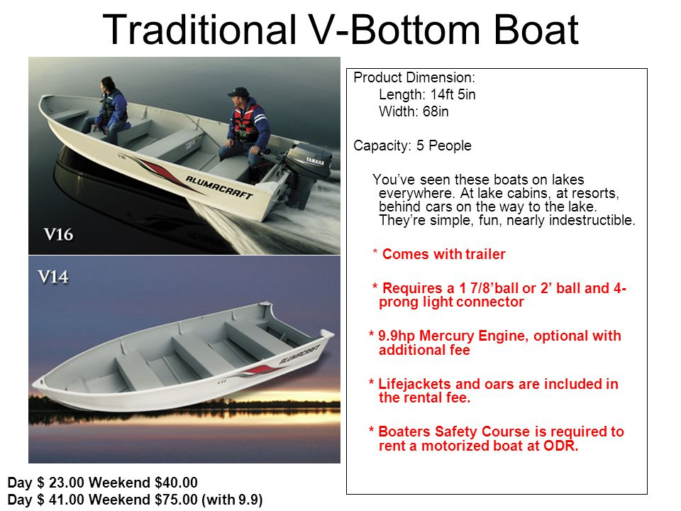 Traditional V-Bottom Boat Product Dimension: Length: 14ft 5in Width: 68in Capacity: 5 People Youve seen these boats on lakes everywhere.