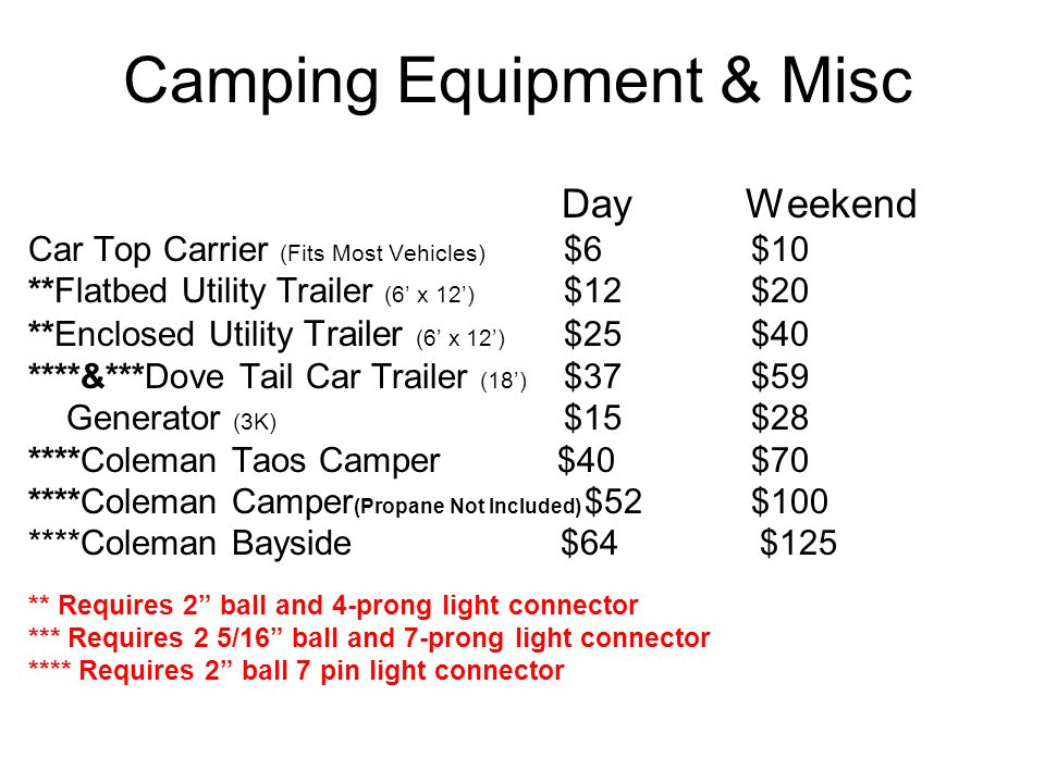 Camping Equipment & Misc Day Weekend Car Top Carrier (Fits Most Vehicles) $6 $10 **Flatbed Utility Trailer (6 x 12) $12 $20 **Enclosed Utility Trailer (6 x 12) $25 $40 ****&***Dove Tail Car Trailer (18) $37 $59 Generator (3K) $15 $28 ****Coleman Taos Camper $40 $70 ****Coleman Camper (Propane Not Included) $52 $100 ****Coleman Bayside $64$125 ** Requires 2 ball and 4-prong light connector *** Requires 2 5/16 ball and 7-prong light connector **** Requires 2 ball 7 pin light connector