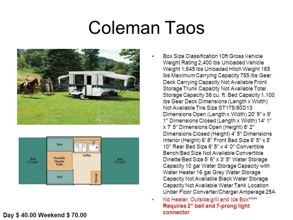 Coleman Taos Box Size Classification 10ft Gross Vehicle Weight Rating 2,400 lbs Unloaded Vehicle Weight 1,645 lbs Unloaded Hitch Weight 165 lbs Maximum Carrying Capacity 755 lbs Gear Deck Carrying Capacity Not Available Front Storage Trunk Capacity Not Available Total Storage Capacity 38 cu.