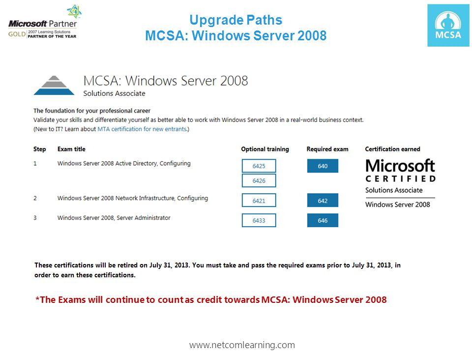 Upgrade Paths MCSA: Windows Server 2008 *The Exams will continue to count as credit towards MCSA: Windows Server 2008 www.netcomlearning.com