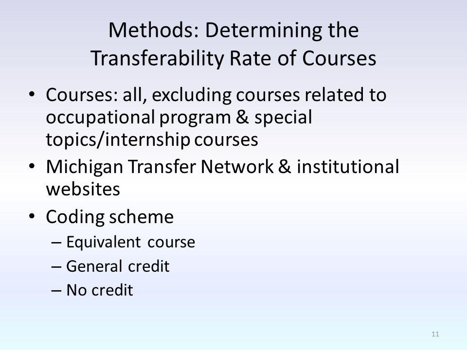 Methods: Determining the Transferability Rate of Courses Courses: all, excluding courses related to occupational program & special topics/internship courses Michigan Transfer Network & institutional websites Coding scheme – Equivalent course – General credit – No credit 11