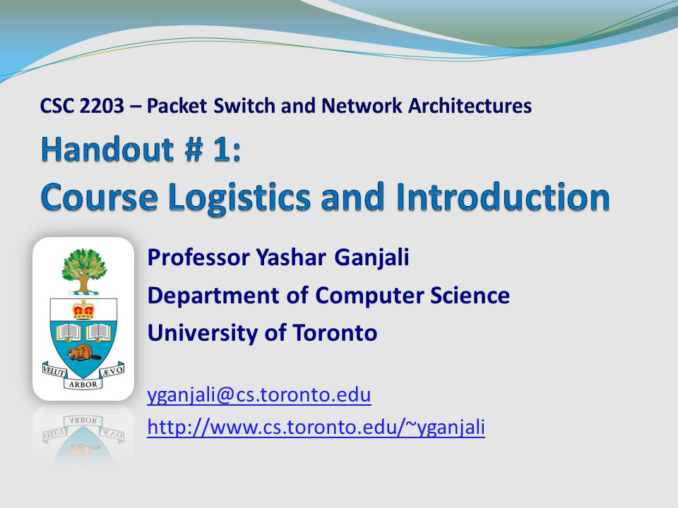 Software Defined Networks – Contd CSC 2203 – Packet Switch and Network Architectures42University of Toronto – Fall 2012 Controller OpenFlow Switch PC OpenFlow Protocol SSL Data Plane